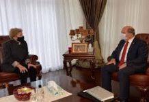 Ersin Tatar'ın makamında BM Üst Düzey Yetkilisi Jane Holl Lute