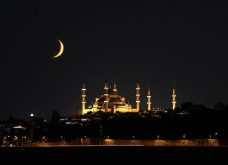 Sultanahmet mosque and crescent during Ramadan in Istanbul/Turkey. .